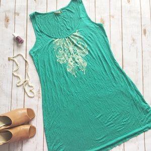 Athleta green cotton pull over dress
